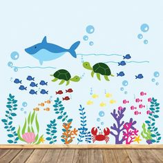 Items similar to Vinyl Wall Decal Kids Dolphin Wall Decal Ocean Nursery Decal Fish Wall Decals on Etsy Ocean Room, Ocean Nursery, Nursery Decals, Kids Wall Decals, Nursery Themes, Sea Murals, Wall Murals, Underwater Theme, School Murals