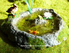 Miniature pond with duck turtle and water lilly for by Evamini, $21.00