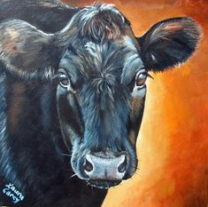 Annie Angus Canvas Print / Canvas Art by Laura Carey Cow Paintings On Canvas, Farm Paintings, Animal Paintings, Canvas Art, Canvas Prints, Country Paintings, Cow Pictures, Pictures To Paint, Plant Pictures