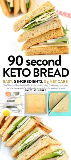 What Is Keto Bread Recipe #BestKetoBread Easy Keto Bread Recipe, Lowest Carb Bread Recipe, Bread Recipes, Fitness Bread Recipe, Sweets Recipes, 90 Second Keto Bread, Best Keto Bread, Keto Cookies, Low Carb Desserts