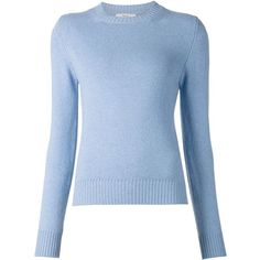 Barrie crew neck sweater ($1,030) ❤ liked on Polyvore featuring tops, sweaters, long sleeves, blue, long sleeve crew neck sweater, crew neck sweaters, blue crewneck sweater, cashmere crewneck sweater and blue sweater