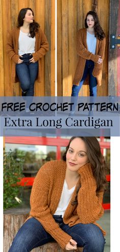 Crochet cardigan free pattern stay warm and comfy cozy in this extra long oversized cardigan easy free pattern the home girl sweater crochet sweater pattern Cardigan Au Crochet, Gilet Crochet, Knit Cardigan Pattern, Crochet Coat, Crochet Jacket, Crochet Clothes, Crochet Sweaters, Crochet Cardigan Pattern Free Women, Crochet Shrugs