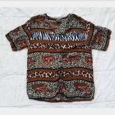 Vintage Patterned City Road Pattern Shirt Vintage Button Down Color Block Print Large Size