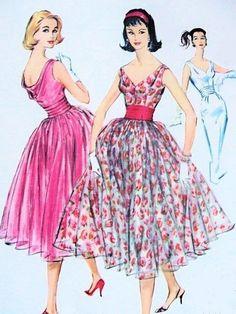 1950s Dazzling Evening Party Dress Pattern Draped Cowl Back, Deep V Neckline, Wiggle Slim or Full Skirts Cummerbund Gorgeous Design McCalls 4414 Vintage Sewing Pattern Bust 34