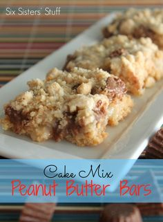 A great and delicious Cake Mix Peanut Butter Bar recipe! www.sixsistersstuff.com