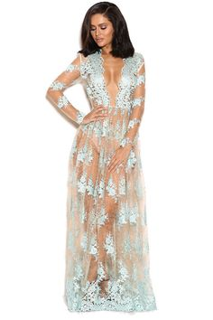 House Of CB 'Claudia' Blue And Nude Lace Deep Plunge Long S