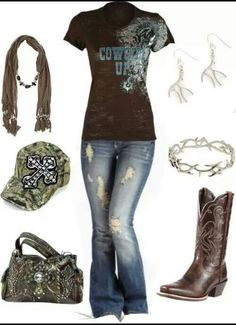 """""""camo cowgirl"""" by ❤lose the scarf and get a different western ball cap and the outfit is complete Country Style Outfits, Country Girl Style, Country Fashion, My Style, Country Chic, Glam Style, Camo Outfits, Cowgirl Outfits, Mode Outfits"""
