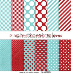 """Jumbo Polka Dot, Gingham and Diagonal Stripes Patterns in Aqua Blue, Dark Red and White. Pattern Swatches with Global Colors. Matches my other """"Modern Christmas Backgrounds"""" Image ID: 121350391."""