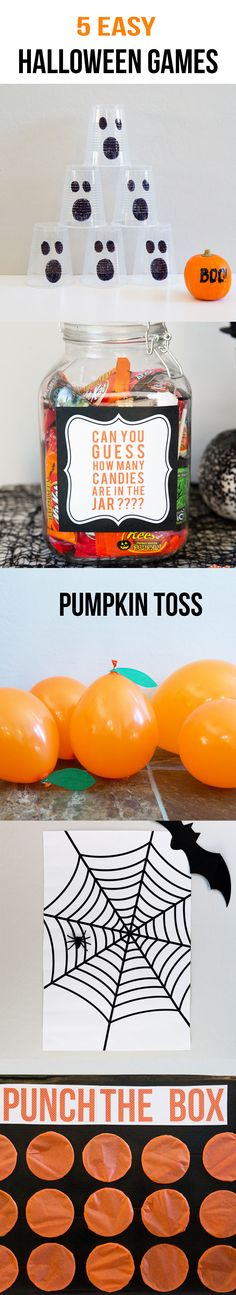5 EASY Kids Halloween Games including ghost bowling, candy guess game, pumpkin toss, punch a box and pin the spider on the web. These games are perfect for any Halloween party with kids!