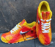 da96e254b90f0b Painted Custom Nike Air Max 90 Kill Bill Graffiti Yellow Blood Nike Schuhe