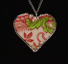Vintage English Transferware red toile Broken China Jewelry Heart Pendant