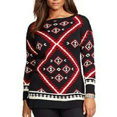 Ralph Lauren Sweater Tunic NWT SZ 1X. Black red and cream. Side vented hem. Thick, soft sweater knit 100% Cotton. Retail $165!! Ralph Lauren Sweaters