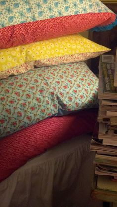 Stack of pillows...love the colors!