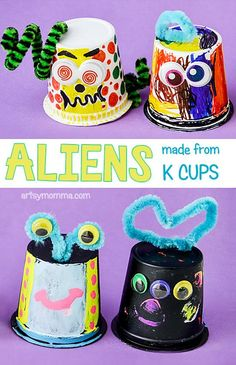 My kids and I love the silly new book by Jon Agee titled, Life On Mars. To go along with the story, we made silly aliens from empty k cups.