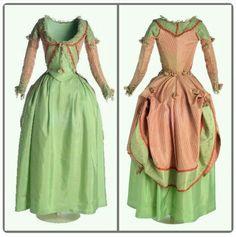 (1775 - 1785 polonaise gown, green silk tafeta