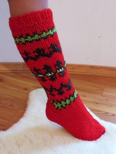 Wool Red Socks Knee Length Socks Woman's Socks Warm от Likableshop