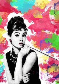 Audrey Hepburn illustration Poster Print black and white, breakfast at tiffany's, tiffany, art, modern , pop art, watercolor, colorful art on Wanelo