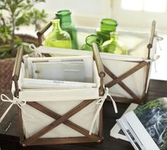 small + lg x crates with fabric. inspired by pottery barn crates