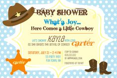 Baby Shower Invitation Cowboy Hat Sheriffs Badge Cowboy Boots - Baby Shower Invite Blue Yellow Orange Brown Girl or Boy Invite Cowboy Invite. , via Etsy.