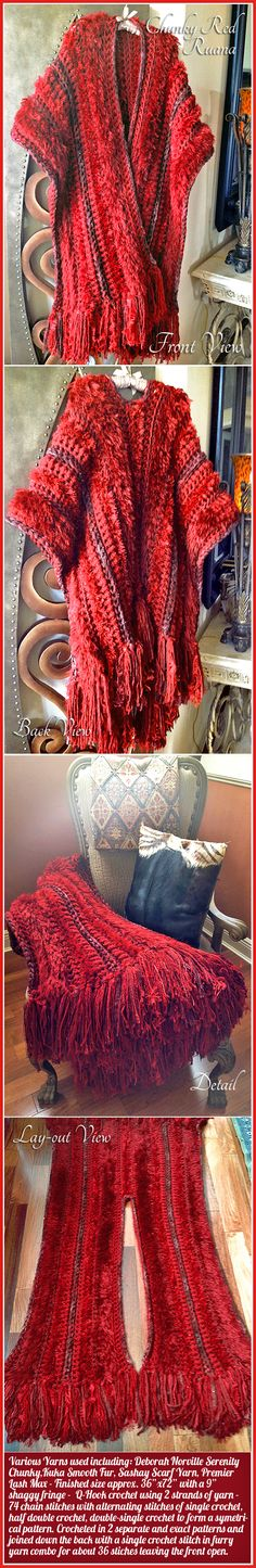 I am so obsessed with crocheting chunky afghans with a Q-hook, but it's getting old! So, for Christmas presents this year I decided to adapt the Q-hook Afghan into something wearable! A Big Chunky and Cuddly Ruana! And when you're not wearing it, it looks great thrown over a chair. Red photographs poorly, but this one is also sparkly and furry. Love how it turned out!