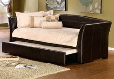 Amazon.com: Hillsdale Montgomery Brown Faux Leather Trundle Daybed: Home & Kitchen