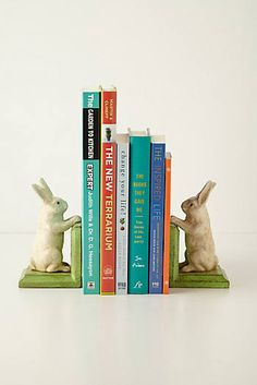 Handpainted Bunny Bookends - Note to self: DIY with plastic animals for S's room.