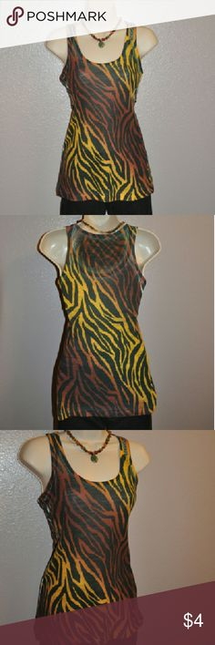 Printed Zebra Striped Tank Transitions from burgundy to yellow. 100% polyester Forever 21 Tops Tank Tops