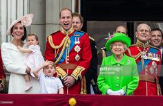 Catherine, Duchess of Cambridge, Princess Charlotte, Prince George, Prince William, Duke of Cambridge, Queen Elizabeth II and Prince Philip, Duke of Edinburgh stand on the balcony during the Trooping the Colour, this year marking the Queen's official 90th birthday at The Mall on June 11, 2016 in London, England. The ceremony is Queen Elizabeth II's annual birthday parade and dates back to the time of Charles II in the 17th Century when the Colours of a regiment were used as a rallying point…