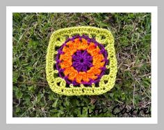 'Tita Carre' Tita Carré - Agulha e Tricot : Square em crochet Orange Purple Flower e a Canção Purple Rain de Prince