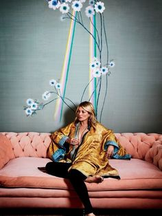 Kate Moss in her London entry hall, where the walls are dressed in the Daybreak version of the pattern in Light silk wall covering | archdigest.com