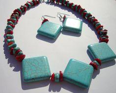 Pendientes y Collar Chip turquesa y rojo por BeadsbyDanielle