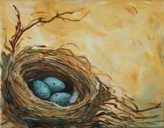 Eggs Nest Acrylic Painting | Nest Egg Painting Three Speckled Eggs 11 x 14 by grafittigirl, $75.00