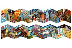 Beautiful Concertina book | High Times is an exquisitely designed and printed concertina book which folds out to a spectacular 4.5 foot panorama detailing the history of flight and aviation.