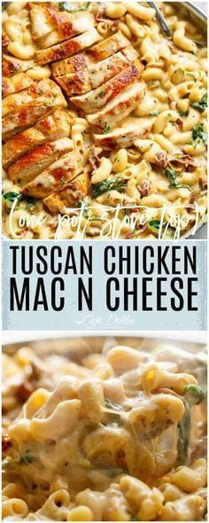 Tuscan Chicken Mac And Cheese is a ONE POT dinner made on th. - Food RecipesTuscan Chicken Mac And Cheese is a ONE POT dinner made on the stove top, in less than 30 minutes! It will be hard to go back to regular Mac and Cheese! Pasta Dishes, Food Dishes, Main Dishes, Mc N Cheese, Pasta Recipes, Cooking Recipes, Skillet Recipes, Good Recipes For Dinner, Meat Recipes