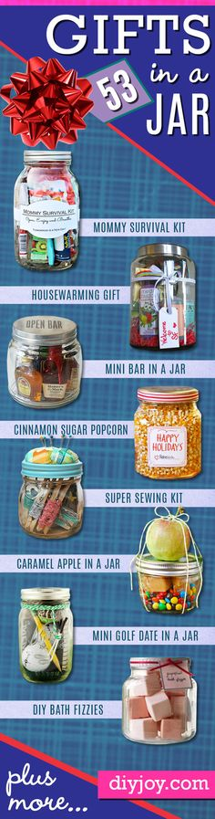 Lots of DIY gift in a jar ideas for inexpensive handmade Christmas gift ideas. DIY mason jar gifts that hold food, gift cards and other creative ideas for presents to make. Diy Gifts In A Jar, Mason Jar Gifts, Mason Jar Diy, Easy Gifts, Homemade Gifts, Dates In A Jar, Creative Ideas, Diy Ideas, Money Makers