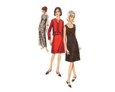 Semi-fitted A-Line Dress with length variations and jacket - 1960s Complete Original Butterick Pattern #3753