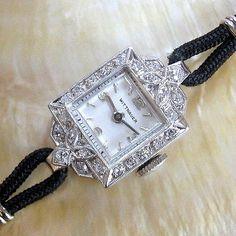 Ladies-NICE-1940s-Longines-Wittnauer-SOLID-PLATINUM-24-DIAMONDS-Deco-Swiss-Watch