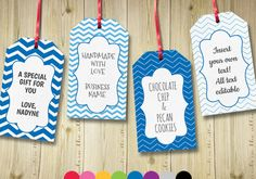 Editable gift tags gift tag template text editable chevron gift labels hang tags luggage tags party printable digital template by HandsInTheAttic