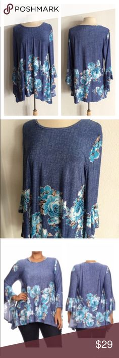 """(Plus) Floral top *fits like a 1x Chambray top. Looks like denim- feels more like silk! 95% polyester/ 5% spandex. Juniors sizing- I recommend going one size up. 2x: L 31"""" B 42"""" ⭐️This item is brand new from manufacturer without tags.  🚫NO TRADES 💲Price is firm unless bundled 💰Ask about bundle discounts Availability: 2x • 2 Tops"""