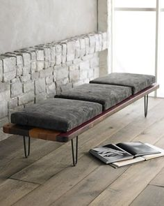Mid-century modern bench seat...I love everything about this, the simple bench and the bent iron legs.