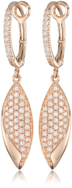 "KC Designs ""Metro"" 14k Rose Gold and Diamond Leaf Earrings."