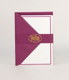 G. Lalo Verge Bordered Note Card Set - Aubergine   NoteMaker - Australia's Leading Online Stationery Shop
