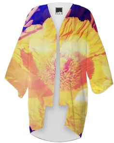 Eerie Yellow Poppy Kimono from Print All Over Me