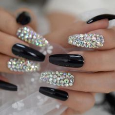 Black And Blue Nails, Black Ombre Nails, Coffin Nails Ombre, Black Nails With Glitter, Black Acrylic Nails, Glittery Nails, Best Acrylic Nails, Glue On Nails, Rhinestone Nails