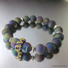 Peacock Titanium Druzy Gemstone Silver Golden Crystal Stretch Bracelet – Lexi…