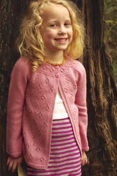 Posy 4ply childrens cardigan knitting pattern by Georgie Hallam - Available at LoveKnitting