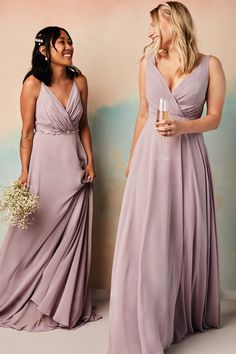 Lovely in lavender! Dress your maids in a gorgeous pastel lavender shade perfect for your spring or summer wedding! | #bridesmaiddresses #bridesmaids #lavendermaids #purplebridesmaids | Style F20064 in Lavender Haze | Shop this style and more at davidsbridal.com Davids Bridal Bridesmaid Dresses, Bridesmaid Robes, Bridesmaids, Wedding Dresses, Pastel Gown, Necklines For Dresses, Wedding Attire, Wedding Jokes, Wedding Ideas