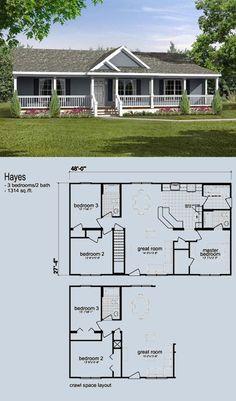 Ranch   Nicholls Construction Small House Floor Plans, Sims House Plans, Ranch House Plans, New House Plans, Farmhouse Plans, Modern Farmhouse, Modular Log Homes, Morton Homes, 1500 Sq Ft House
