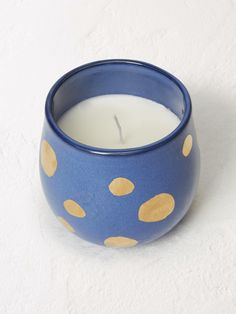 Blue & Gold Spot Ceramic Candle
