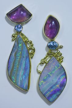 Boulder opal earrings with amethyst, blue zircon, and topaz in 22k and 18k.  Opals from Bill Kasso